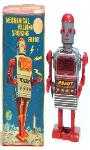 japanese robots space toys, buying tin toy robots, vintage tin toys buddy l trucks cars trains